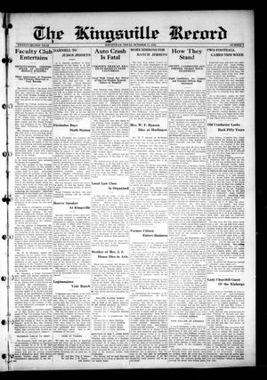 Primary view of object titled 'The Kingsville Record (Kingsville, Tex.), Vol. 22, No. 9, Ed. 1 Wednesday, October 17, 1928'.
