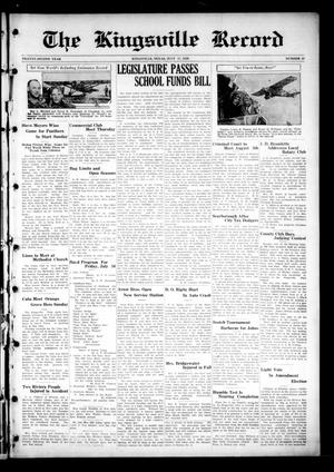 Primary view of object titled 'The Kingsville Record (Kingsville, Tex.), Vol. 22, No. 48, Ed. 1 Wednesday, July 17, 1929'.