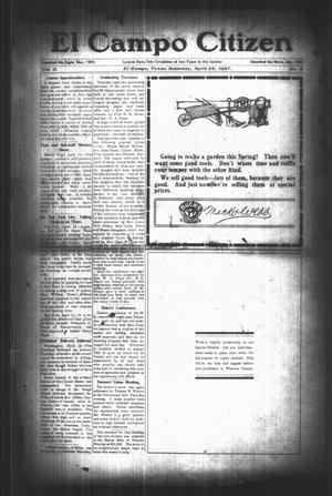 Primary view of object titled 'El Campo Citizen (El Campo, Tex.), Vol. 3, No. 9, Ed. 1 Saturday, April 20, 1907'.