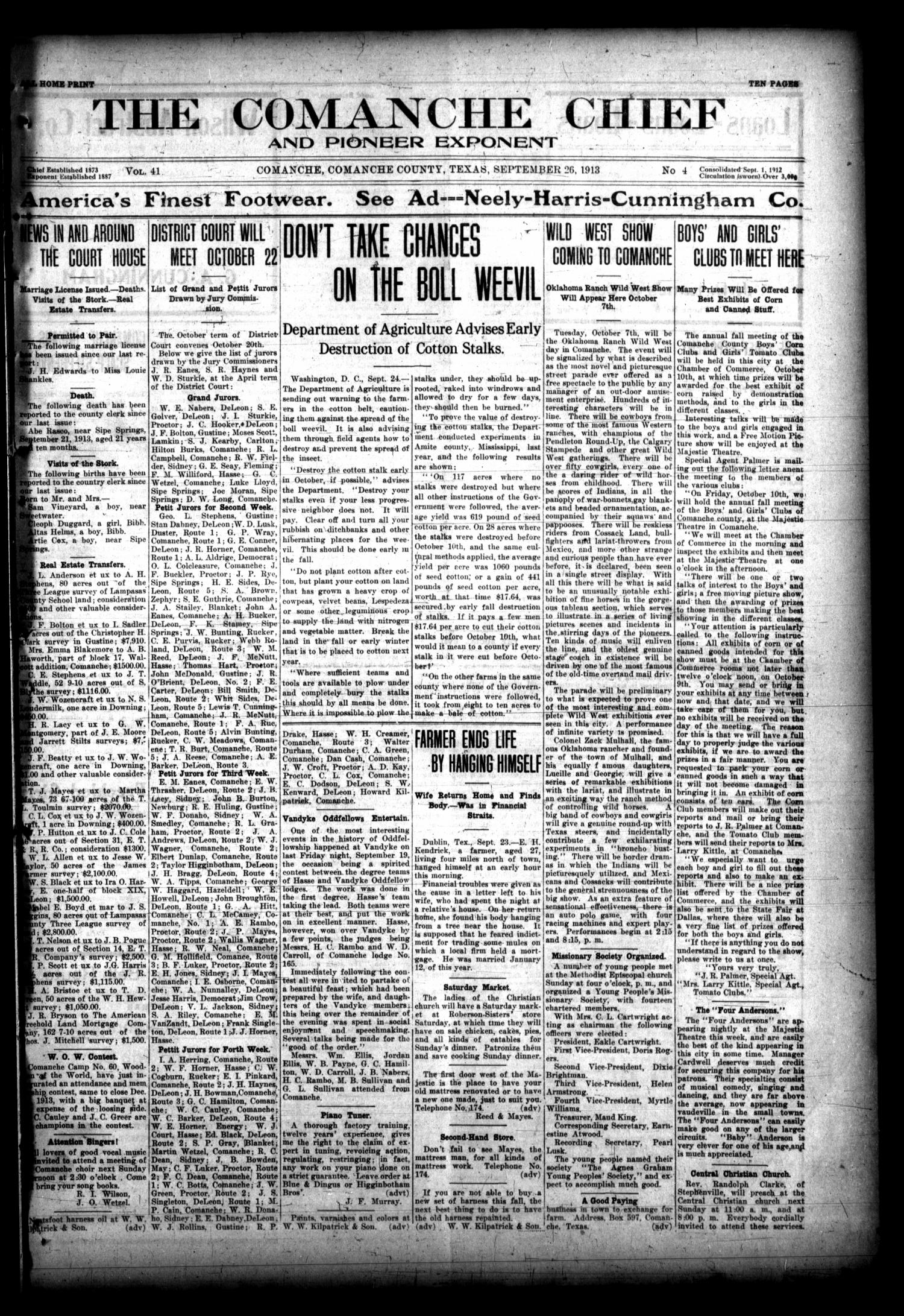 The Comanche Chief and Pioneer Exponent (Comanche, Tex.), Vol. 41, No. 4, Ed. 1 Friday, September 26, 1913                                                                                                      [Sequence #]: 1 of 10
