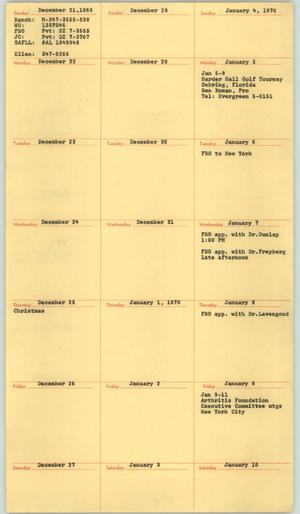 Primary view of object titled '[Jacqueline Cochran's Typed Daily Schedule From December 21, 1969, to December 15, 1973]'.