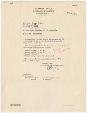 Primary view of object titled '[Letter from the Library of Congress to Charles B. Blanchard, April 7, 1954]'.