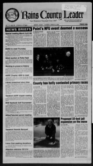 Rains County Leader (Emory, Tex.), Vol. 114, No. 38, Ed. 1 Tuesday, March 5, 2002