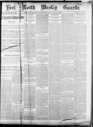 Primary view of object titled 'Fort Worth Weekly Gazette. (Fort Worth, Tex.), Vol. 12, No. 46, Ed. 1, Thursday, October 23, 1890'.