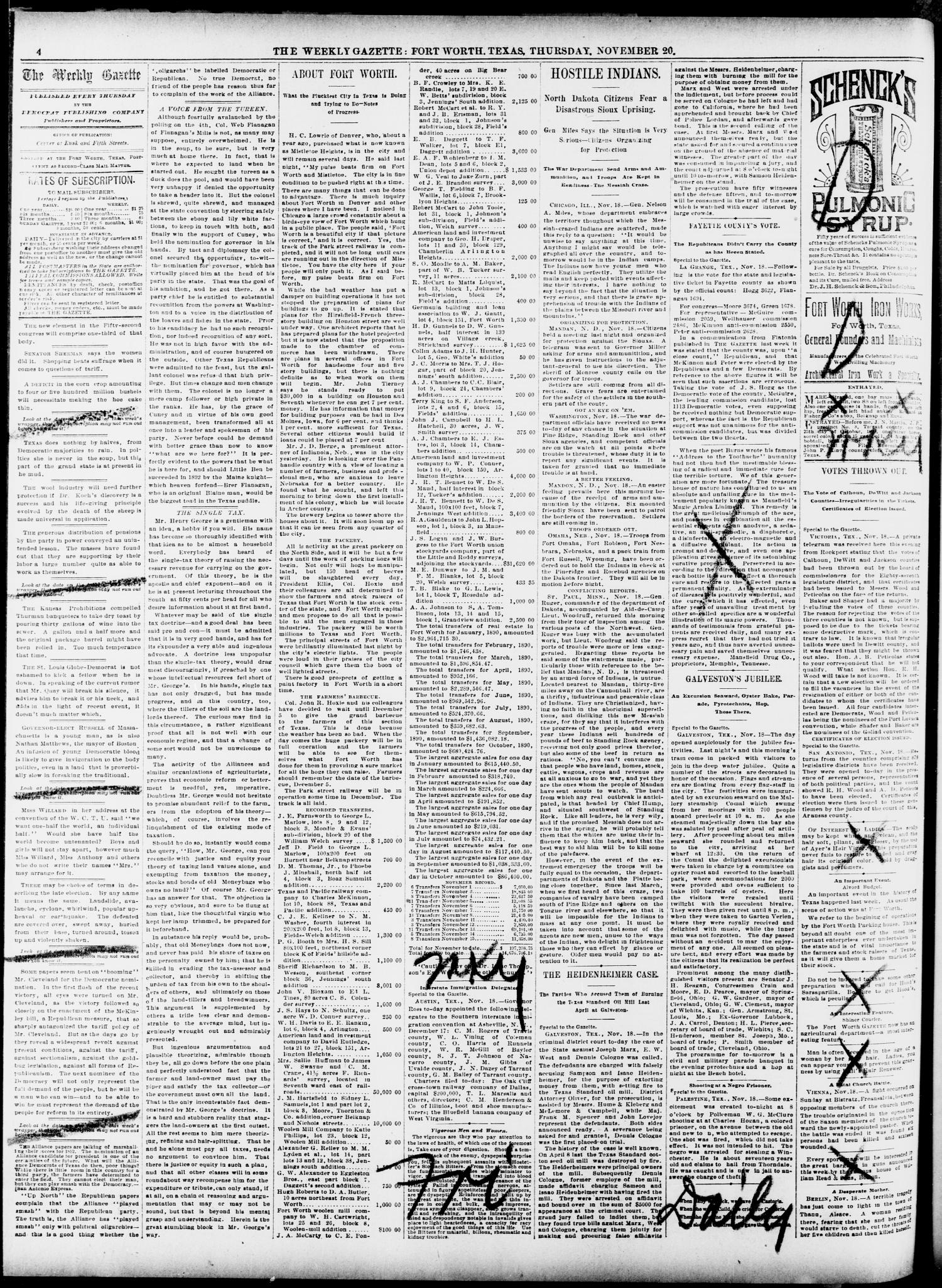 Fort Worth Weekly Gazette. (Fort Worth, Tex.), Vol. 12, No. 50, Ed. 1, Thursday, November 20, 1890                                                                                                      [Sequence #]: 4 of 12