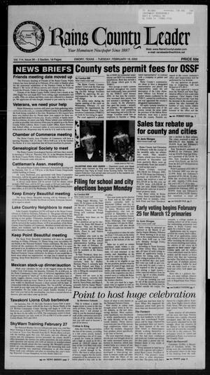 Rains County Leader (Emory, Tex.), Vol. 114, No. 36, Ed. 1 Tuesday, February 19, 2002