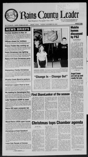 Rains County Leader (Emory, Tex.), Vol. 115, No. 25, Ed. 1 Tuesday, November 26, 2002
