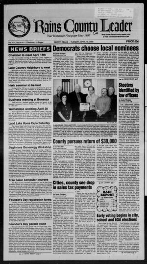 Rains County Leader (Emory, Tex.), Vol. 114, No. 44, Ed. 1 Tuesday, April 16, 2002