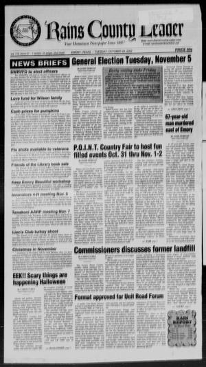 Rains County Leader (Emory, Tex.), Vol. 115, No. 21, Ed. 1 Tuesday, October 29, 2002