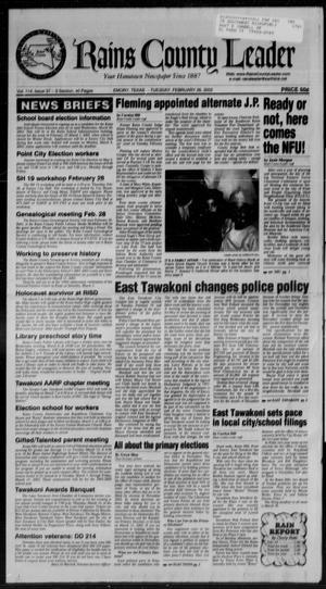 Rains County Leader (Emory, Tex.), Vol. 114, No. 37, Ed. 1 Tuesday, February 26, 2002