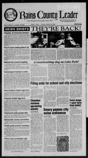 Rains County Leader (Emory, Tex.), Vol. 114, No. 41, Ed. 1 Tuesday, March 26, 2002