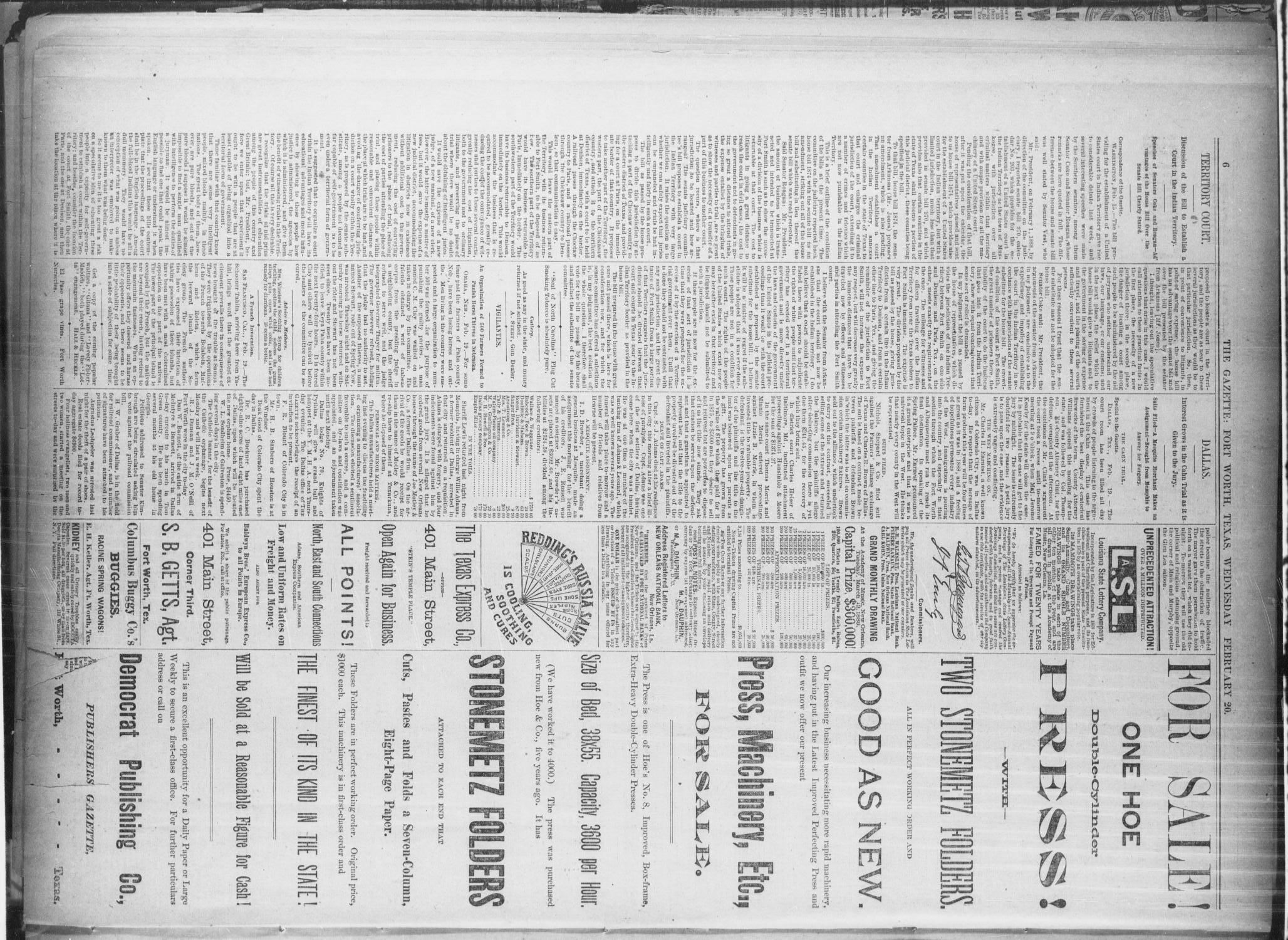 Fort Worth Daily Gazette. (Fort Worth, Tex.), Vol. 13, No. 232, Ed. 1, Wednesday, February 20, 1889                                                                                                      [Sequence #]: 6 of 8