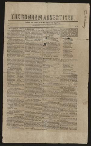 Primary view of object titled 'The Bonham Advertiser. (Bonham, Tex.), Vol. 1, No. 32, Ed. 1 Thursday, October 4, 1849'.