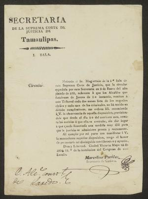 Primary view of [Letter from Marcelino Perales to the Laredo Alcalde, May 13, 1834]