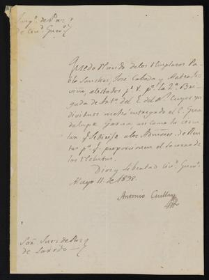 Primary view of [Letter from Antonio Cuellar to the Laredo Justice of the Peace, May 11, 1838]