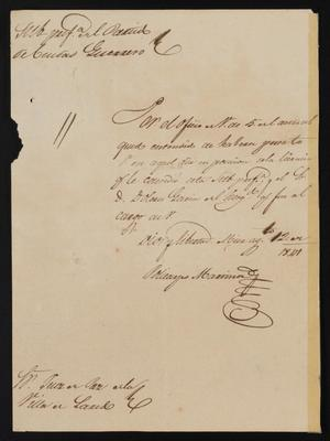 Primary view of object titled '[Letter from Policarzo Martinez to the Laredo Justice of the Peace, August 12, 1841]'.