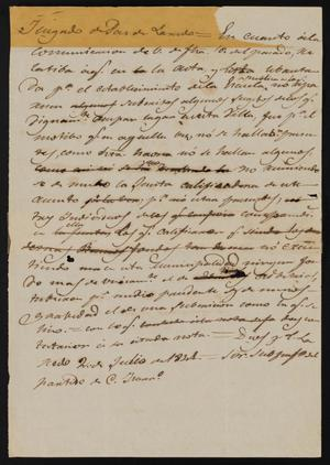Primary view of object titled '[Letter from the Laredo Justice of the Peace to Policarzo Martinez, July 2, 1841]'.