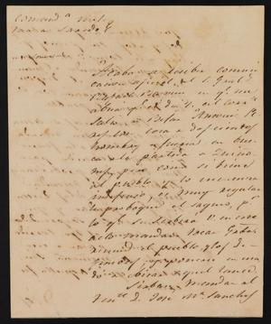 Primary view of object titled '[Letter from Manuel Lafuente to the Laredo Justice of the Peace, July 9, 1841]'.