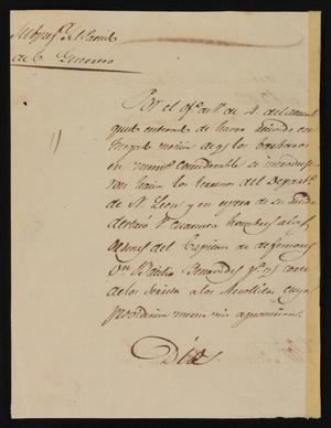 Primary view of object titled '[Letter from Policarzo Martinez to the Laredo Alcalde, February 7, 1842]'.