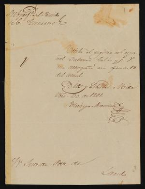 Primary view of object titled '[Letter from Policarzo Martinez to Justice of the Peace Ramón, October 30, 1841]'.