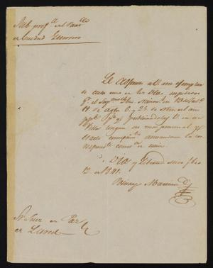 Primary view of object titled '[Letter from Policarzo Martinez to the Laredo Justice of the Peace, February 12, 1841]'.