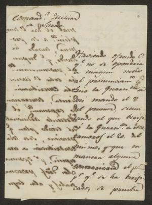 Primary view of [Letter from the Comandante Militar to the Laredo Alcalde, June 30, 1833]