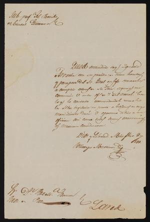 Primary view of [Letter from Policarzo Martinez to Justice of the Peace Ramón, February 7, 1841]