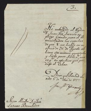 Primary view of object titled '[Letter from José María Gonzalez to the Laredo Alcalde, September 9, 1827]'.
