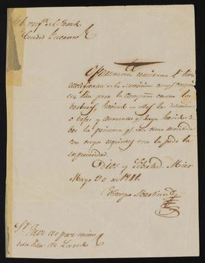 Primary view of object titled '[Letter from Policarzo Martinez to Justice of the Peace Ramón, May 30, 1841]'.