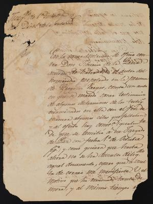 Primary view of object titled '[Letter from Francisco Valdes to the Justice of the Peace, January 17, 1842]'.