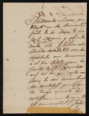 Primary view of object titled '[Letter from Melitor Gonzalez to Justice of the Peace Ramón in Laredo, December 9, 1841]'.