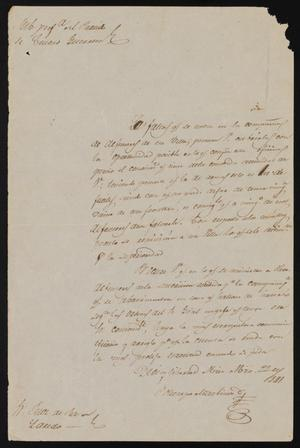 Primary view of object titled '[Letter from Policarzo Martinez to the Laredo Justice of the Peace, March 22, 1841]'.