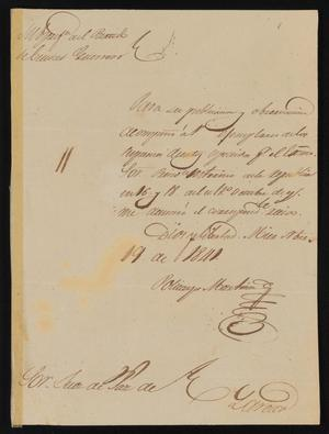 Primary view of object titled '[Letter from Policarzo Martinez to the Laredo Justice of the Peace, November 19, 1841]'.