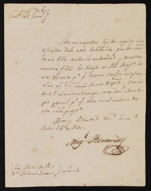 Primary view of object titled '[Letter from Miguel Benavides to the Laredo Justice of the Peace, July 25, 1840]'.