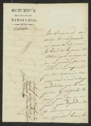 Primary view of [Letter from José Honorato de la Garza to the Laredo Ayuntamiento, April 27, 1832]