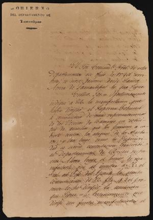 Primary view of [Letter from Governor Fernández to the Laredo Ayuntamiento, February 24, 1837]