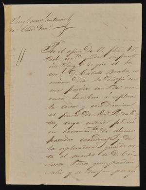 Primary view of [Letter from Yanuario Gutierrez to the Laredo Alcalde, January 25, 1844]