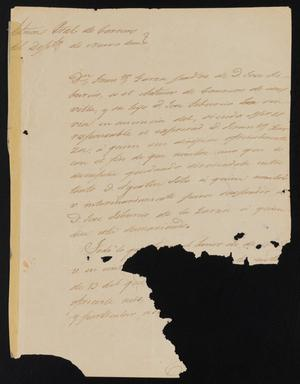 Primary view of object titled '[Letter from Juan de Diaz Arraez to the Justice of the Peace in Laredo, January 25, 1841]'.