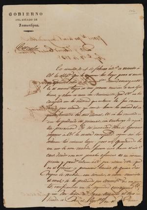 Primary view of [Circular from Governor Fernandez to the Laredo Ayuntamiento, September 7, 1835]