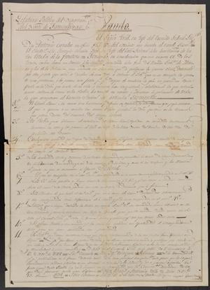 Primary view of object titled '[Message from Antonio Canales to the Federalist Forces of Northern Mexico]'.