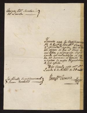 [Letter from José María Garcia to the Laredo Alcalde, November 5, 1831]