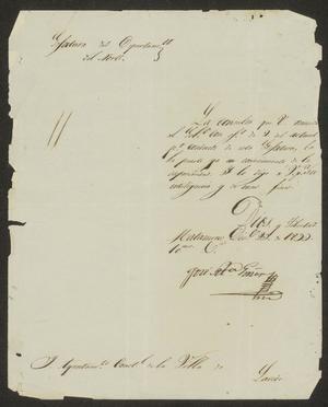Letter from José Maré Girón to the Laredo Ayuntamiento, December 23, 1833
