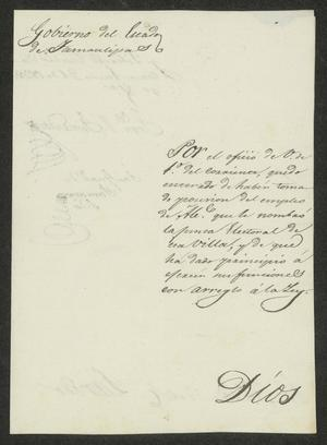 Primary view of [Letter from the Governor to the Laredo Alcalde, January 21, 1832]