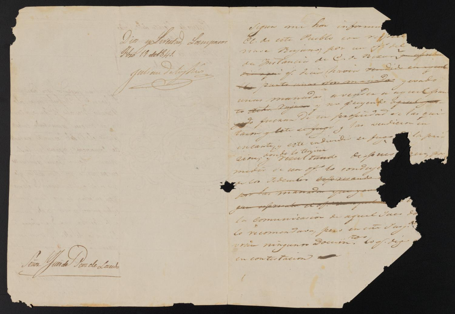 [Letter from Julian de los Ríos to the Justice of the Peace, February 19, 1841]                                                                                                      [Sequence #]: 2 of 3