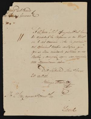 Primary view of object titled '[Letter from Policarzo Martinez to the Laredo Ayuntamiento, January 20, 1842]'.