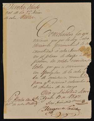 Primary view of [Letter from the Laredo Alcalde to the Department Prefect, August 13, 1843]