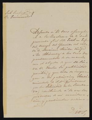 Primary view of object titled '[Letter from Ignacio García to the Laredo Justice of the Peace, January 9, 1841]'.