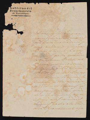 Primary view of object titled '[Letter from Governor Fernandez to the Laredo Justice of the Peace, January 24, 1842]'.