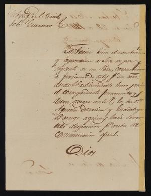 Primary view of object titled '[Letter from Policarzo Martinez to the Laredo Justice of the Peace, December 22, 1841]'.