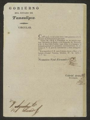 Primary view of [Printed Circular from Governor Fernandez]